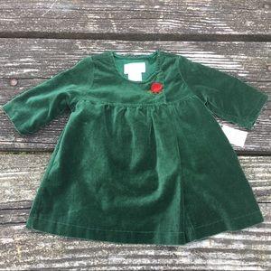 NWT Children's Place Girls Green Velour Dress 0-3M